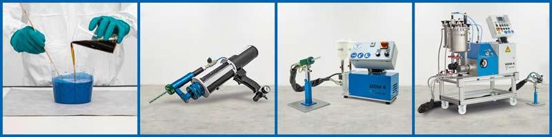 Collage von der Handverarbeitung über Kartuschenmischer LC-DCM, MDM 4 zur MDM 6